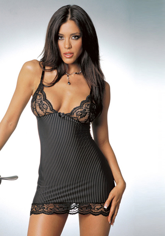 Sexy Black Lace Pinstriped Babydoll Lingerie Set –SexyLingeriesDeal.com | Queen Size Costumes | Scoop.it