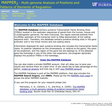 Mapper - a Multi-Genome Analysis of Positions and Patterns of Elements of Regulation Database | bioinformatics-databases | Scoop.it