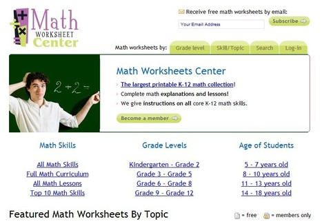 Math Worksheets Center | 21st Century Tools for Teaching-People and Learners | Scoop.it