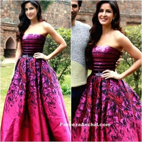 Katrina Kaif in Pink Printed Flare Gown by Georges Chakra | Indian Fashion Updates | Scoop.it