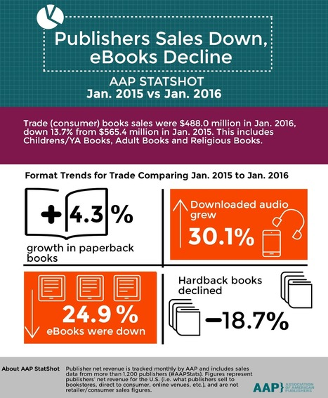 AAP: Ebooks Decline, Audio Grows and Publishers' Sales Drop | Ebook and Publishing | Scoop.it