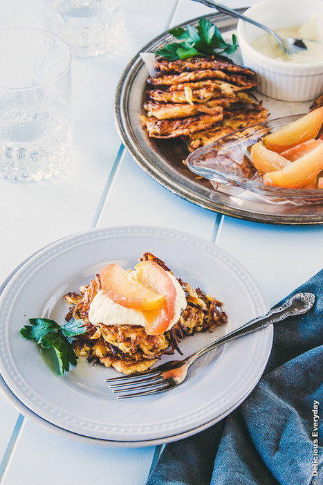 Gluten Free Parsnip Latkes with Mustard Cashew Cream and Honey Roasted Apples recipe | Meatless mondays | Scoop.it