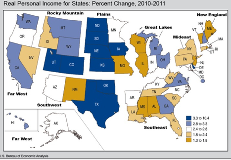 BEA News: Real Personal Income for States and Metropolitan Areas, 2007-2011 (Prototype Estimates) | Analysis Economic Report | Scoop.it