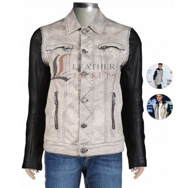 Shirt Collar Denim Jacket with Leather Sleeves | Unique collection of celebrity jackets its now | Scoop.it
