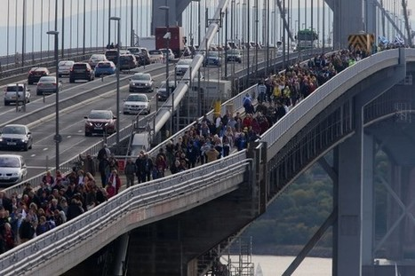 Hundreds line bridge in protest after gas drilling test go-ahead | Today's Edinburgh News | Scoop.it