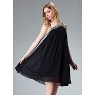 [DKK 697] A-linje One-Shoulder Kort-længde Chiffon Festkjole med Flæsekanter Perlebroderi (020003242)   Fashion   Scoop.it