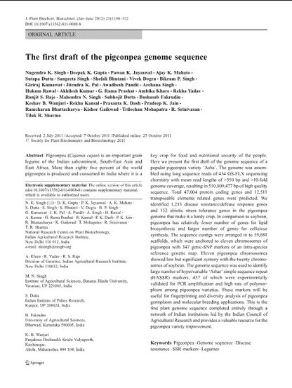 The first draft of the pigeonpea genome | Archaeobotany and Domestication | Scoop.it