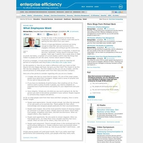 Enterprise Efficiency - Michael Beck - What Employees Want | Technology in Business | Scoop.it