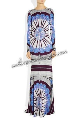 EMILIO PUCCI Long Sleeves Printed Silk Maxi Dress [Printed Silk Maxi Dress] - $206.99 : Emilio pucci dresses online outlet,discount pucci dresses on sale! | chic items | Scoop.it