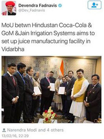 HCCB signs MoU with Government of Maharashtra to impact 5000 farmers at the 'Make in India Week' | Hindustan Coca-Cola Beverages Private Limited | Scoop.it