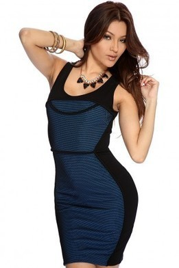 Black Royal Blue Textured Sexy Bodycon Dress   The Season's Hottest Styles from Pink Basis   Scoop.it