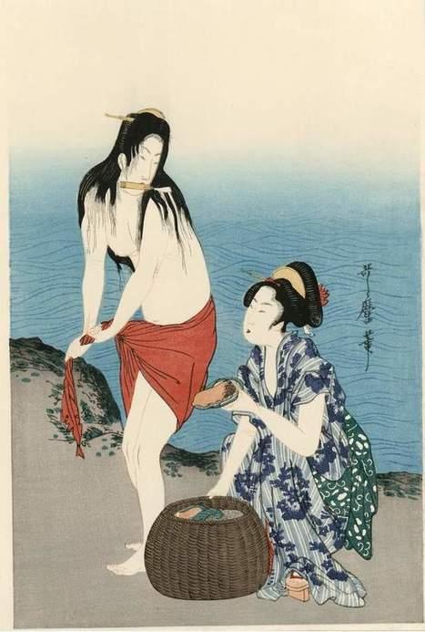 vends magnifique triptyque d'estampes japonaises de UTAMARO : les nageuses aux ormeaux - paris-vente-veritables-estampes-objets-art-japon.overblog.com | estampes japonaises | Scoop.it