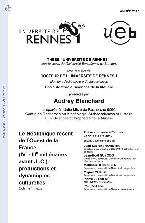 THESE : Le Néolithique récent de l'Ouest de la France (IVe - IIIe millénaires avant J.-C.) : productions et dynamiques culturelles | World Neolithic | Scoop.it
