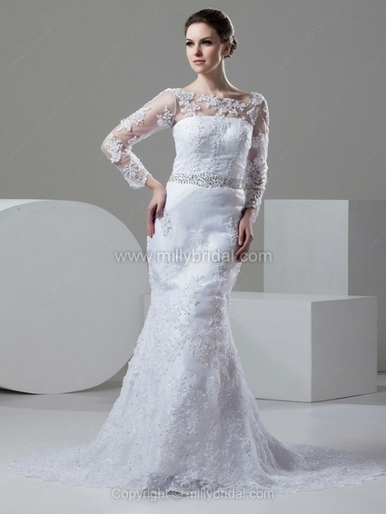 Sheath/Column Bateau Lace Chapel Train Beading Wedding Dresses - www.millybridal.com | wedding and event | Scoop.it