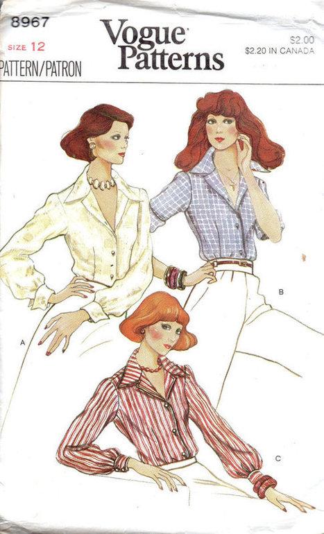 Retro 80s Vogue Sewing Pattern Women's Blouse Wing Collar Neck Button Front Shirt Long Short Sleeve Top Bust 34 | Vintage Sewing Patterns | Scoop.it