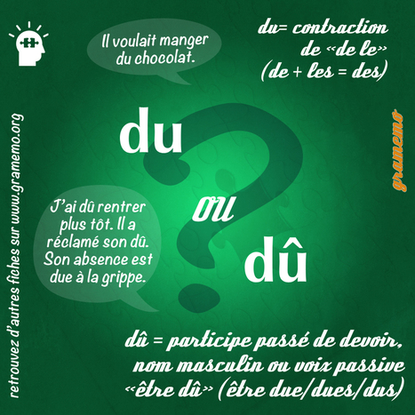 gramemo » Du ou dû ? | Remue-méninges FLE | Scoop.it