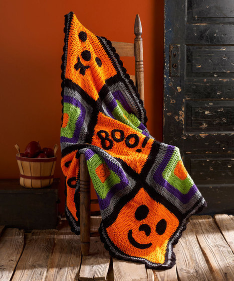 Pumpkin Face Throw | Needle and Hook Patterns-all free | Scoop.it