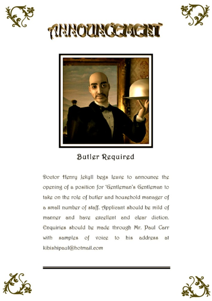 Dr Henry Jekyll requires a butler - Moviestorm Forums | Machinimania | Scoop.it