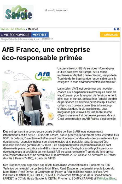 AfB France, une entreprise éco-responsable primée - AfB social & green IT France | Green IT | Scoop.it