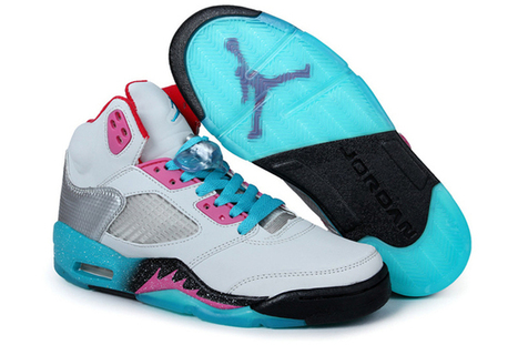 "More Images: White Black and Cyan Color ""Miami Vice"" Jordan V Basketball Shoes 