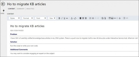 Tip #569: Migrate knowledgebase articles to Interactive Service Hub like a boss | Dynamics CRM Tip Of The Day | Microsoft Dynamics CRM On The Road | Scoop.it