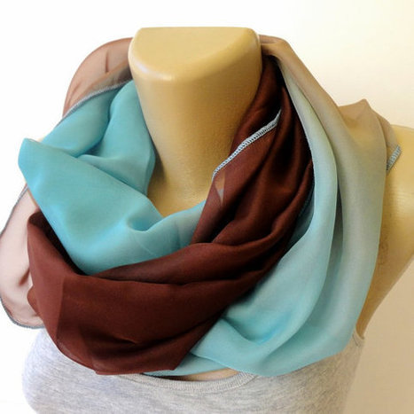 blue and brown chiffon scarf ,infinity ,eternity scarves ,women scarves ,2014 scarf trends | Winter Fashions | Scoop.it