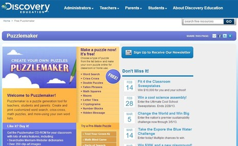 Free Puzzlemaker | Discovery Education | 21st Century Tools for Teaching-People and Learners | Scoop.it