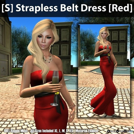 [S] Strapless Belt Dress - Red Group Gift by [satus Inc] | Teleport Hub - Second Life Freebies | Second Life Freebies | Scoop.it