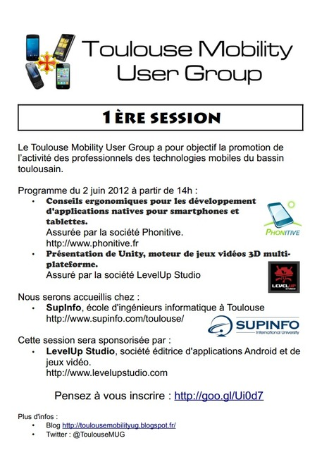 Toulouse Mobility User Group le 2 juin à 14h00 SupInfo | Toulouse networks | Scoop.it