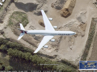 "Un A340 en plein vol dans Google Earth : Vues insolites de Google Earth / Google Maps | Veille Techno et Informatique ""Autrement"" 