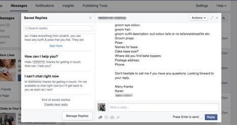 """Su Facebook arrivano le """"saved replies""""   Social Media War   Scoop.it"""