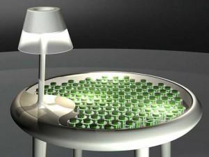 invention techno-écolo : une table porte lampe éclairée par de la mousse naturelle | Aménagement des espaces de vie | Scoop.it