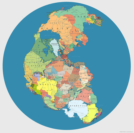 Here's what Pangea looks like mapped with modern political borders | Geografía del mundo | Scoop.it