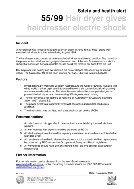 Hairdryer gives electric shock | Hairdressing - more hazardous than you think!! | Scoop.it