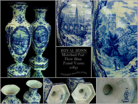 Pair of Blue & White Royal Bonn Vases c1897 | Antique Pottery & Porcelain Marks | Scoop.it