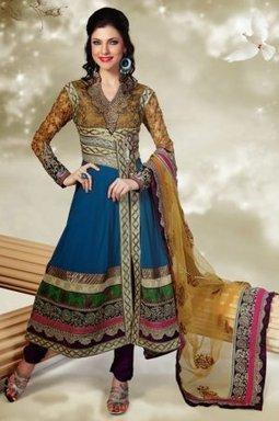 Designer Churidar Salwar Kameez Blue And Cream Georgette PR40689011 | Designer Salwar Kameez | Party Wear Salwar Kameez | Bollywood Churidar Salwar Kameez | Scoop.it