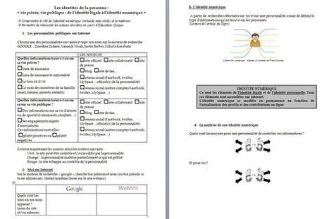 Identité et présence numérique : fiches de séances pédagogiques | éducation et réseaux sociaux | Scoop.it