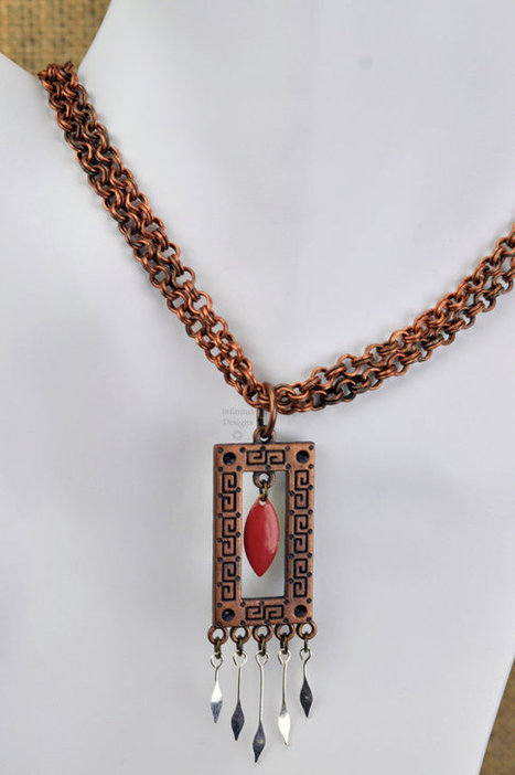 "Copper Greek Key Art Deco Chainmail Double Chain Pendant Necklace with Brown Marquise Center Dangle - ""Gateway"" 