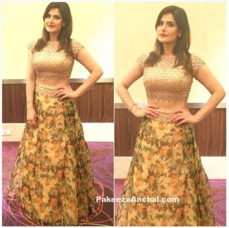 Zareen Khan in Floral Skirt and Nude Choli by Reeti Arneja | Indian Fashion Updates | Scoop.it