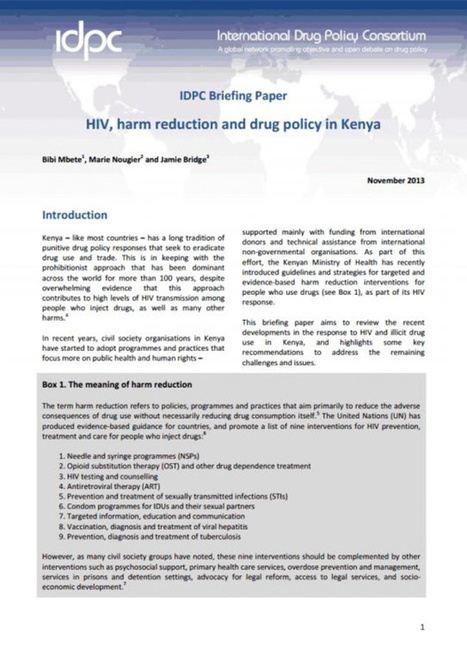 IDPC Briefing Paper: HIV, harm reduction & drug policy in Kenya | Drugs, Society, Human Rights & Justice | Scoop.it