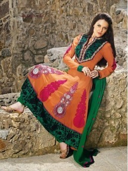Aava Orange & Green Anarkali Churidar Kameez with Dupatta-8156 | online shopping | Scoop.it