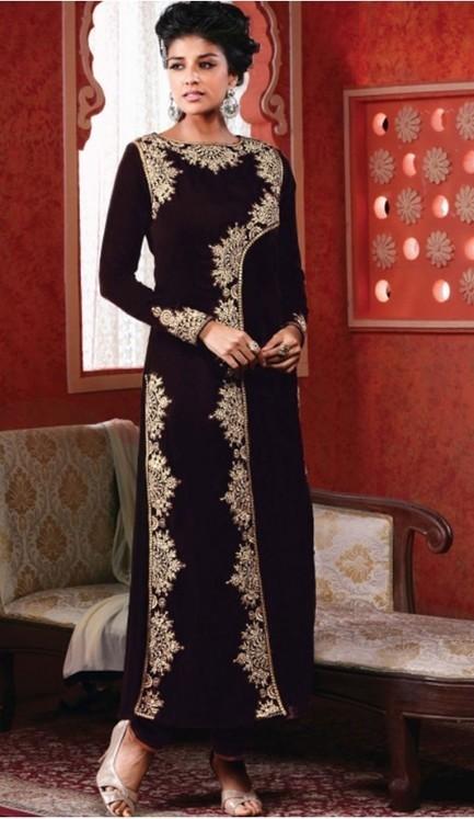 Designer Salwar Kameez: Plum Color with Embroidered | FH374861992 | fashionheena.com | Scoop.it