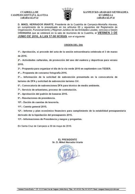 Sesión ordinaria de la Cuadrilla de Campezo-Montaña Alavesa | Mendialdea.info | Scoop.it