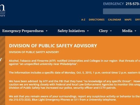 Philly universities: FBI warning of 'unspecified' threat on Monday | The Jett Journal | Scoop.it