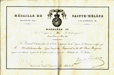 Le Blog généalogique de L'Est Républicain: Jean-Baptiste Malbranche, un bourguignon médaillé de Sainte-Hélène | GenealoNet | Scoop.it