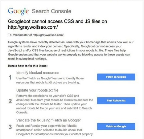 New Google Warning: Googlebot Cannot Access CSS & JS | internet marketing | Scoop.it