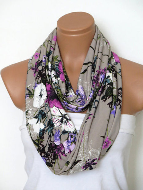 Grey,pink,and multicolored flowers scarves,Scarf,infinity Scarf,Loop Scarf,Jersey  Scarf, Nomad Cowl.eternity Scarf,women fashion | fashion | Scoop.it