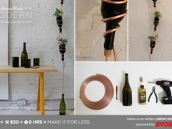 Make a wine bottle planter for a modern twist on a hanging herb garden | Vertical Farm - Food Factory | Scoop.it