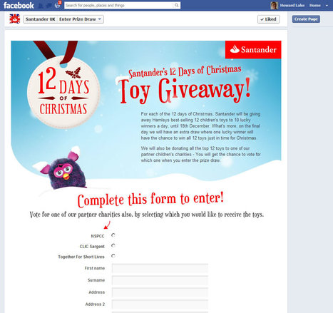 Santander's 12 Days of Christmas toy giveaway via Facebook | Christmas fundraising | Scoop.it