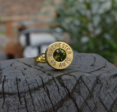 Bullet Shell Ring Handcrafted by me...... Gold/Brass Federal .45 Auto ring with Swarovski crystal | Handmade Items | Scoop.it